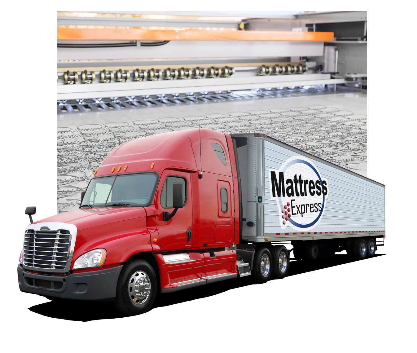 Factory Direct mattresses with our truck load in front