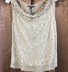Charlie B Charlie B Sleeveless Knit Top w/ Lace Detail
