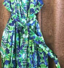 LINEA DOMANI Linea Domani - 7096 - Sleevless Dress w Collar - Blue/Grn Floral - Size 14