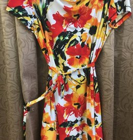SOFT WORKS Women's Dress, Red/Wht/Ornge