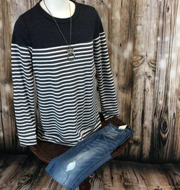 Striped Elbow Patch Detail Top