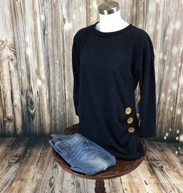 Solid Round Neck Top w/ Side Buttons