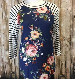 Baseball Tee Floral Body w/ Striped 3/4 Sleeves