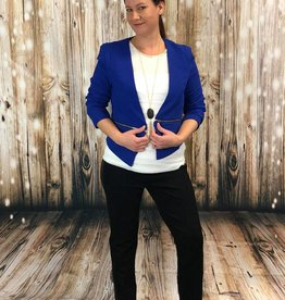 LA Showroom Solid Zipper Detail Cropped Open Blazer