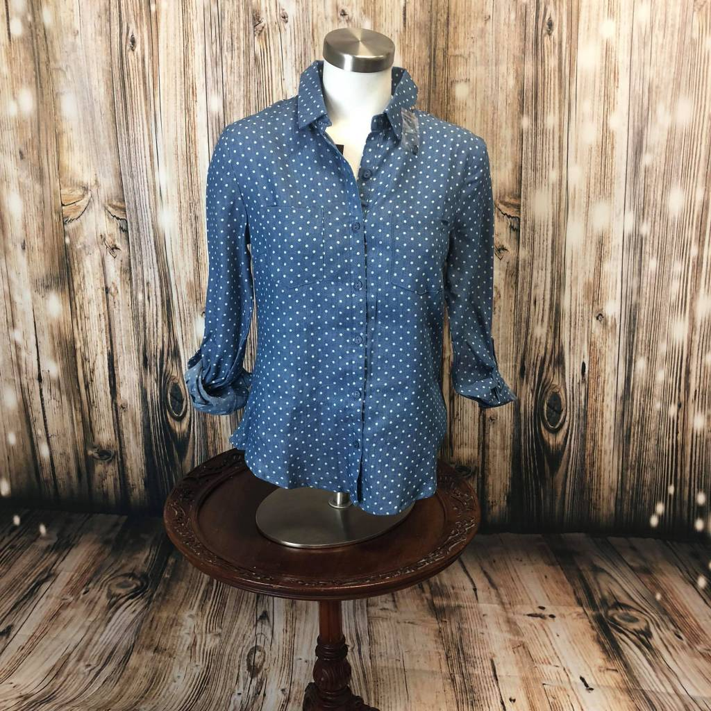 Blue White Polka Dot Button Shirt