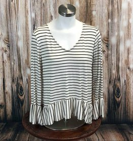 Striped Ruffle Hem Top LV802