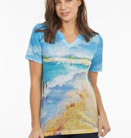 FRENCH DRESSING Notched Crew Neck Top 1353451