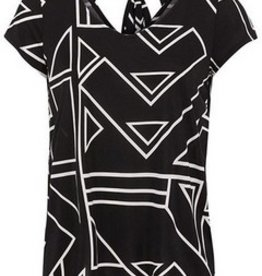 TRIBAL Cap Sleeve V Neck Top W/Bow 29610-2463