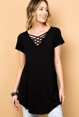 SOLID V NECK CRISS CROSS TUNIC TOP, BLACK