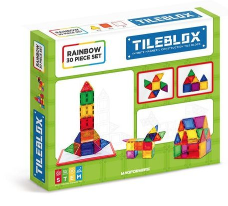 Magformers Tileblox Rainbow 30pc w/Magnetic Board