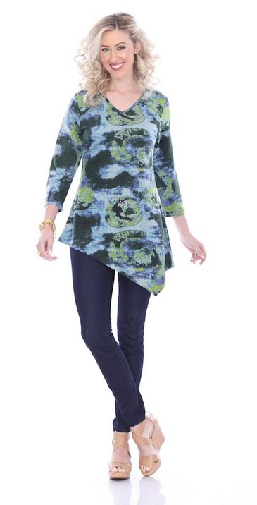 Parsley & Sage Asymmetrical Tunic, Blue Multi