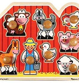 Melissa & Doug Puzzle, Jumbo Knob (large)-Farm