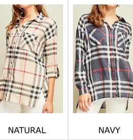 Plaid Print L/S Button Up - TU