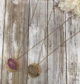 LA Showroom Pave Druzy Disk Pendant Necklace, WN0436