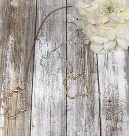 LA Showroom Metal Clover Cutout Pendant Necklace Set, VN2016