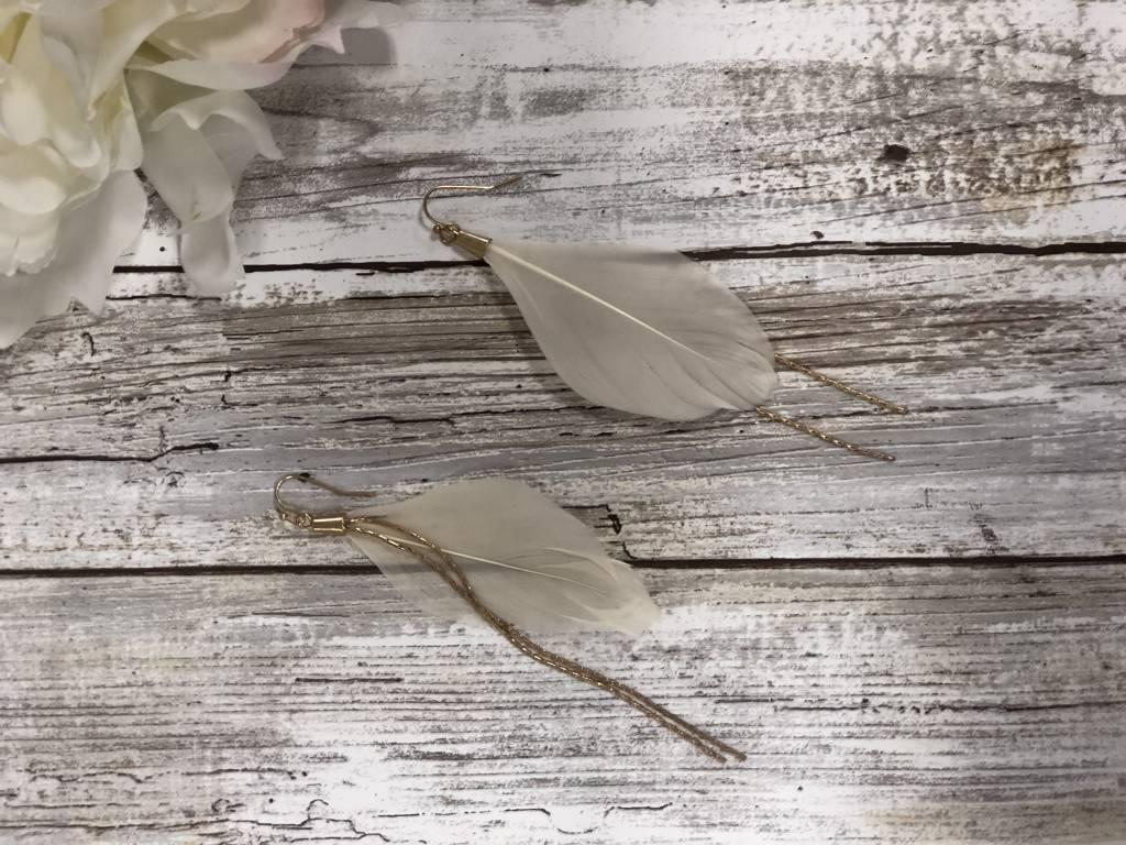 LA Showroom Ivory Feather Chain Drop Earrings, KE2016
