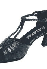"GOGO / Stephanie Dance Shoes GO9930-Ballroom Shoes 2.5"" Slim Suede Sole-BLACK LEATHER/SCALE"