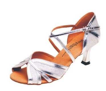 "GOGO / Stephanie Dance Shoes 2083-42-Ballroom Shoes 2.5"" Suede Sole-SILVER"