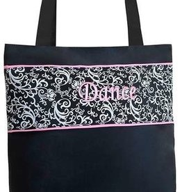 Sassi Designs DSK02-Damask Print Medium Tote with Shoe Compartment