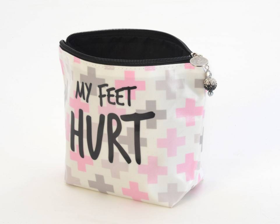 B Plus 400CC36-Chit Chat Large Cosmetic bags 8''x 6''x 3''-My Feet Hurt