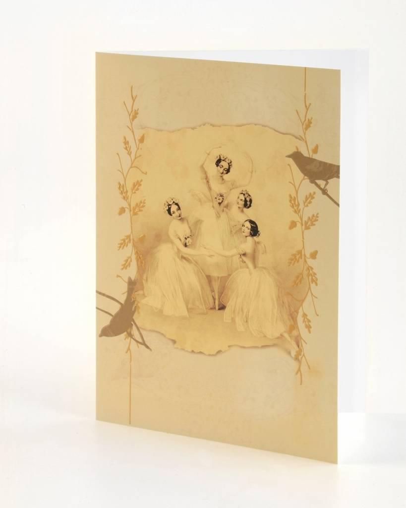 B Plus 203VIN04-Vintage Marie Taglioni Embossed Blank Cards 5''x 7''-Pas de quatre