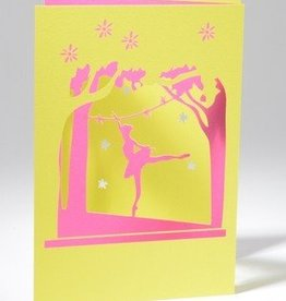 B Plus 210PP01-Tri-Fold Laser Cut Blank Cards,41/2''X 61/4''-PINK/YELLOW