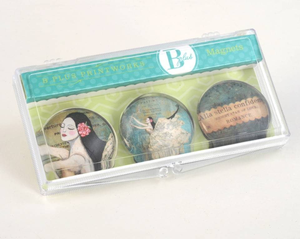 B Plus 502VV01-Vanessa Valencia Glass Magnets 3 Per -Bright star of love