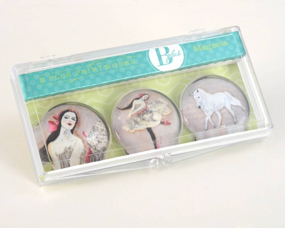 B Plus 502VV02-Vanessa Valencia Glass Magnets 3 Per Box-In a dream