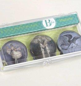 B Plus 503VIN01-Vintage Marie Taglioni Glass Magnets 3 Per Box-Letter