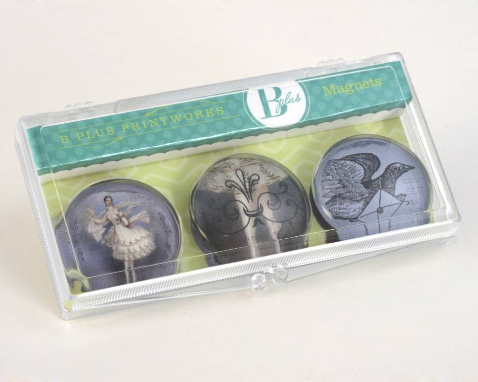 B Plus 503VIN01-Vintage Marie Taglioni Glass Magnets 3 Per Box-Letter