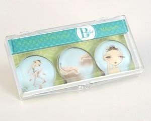 B Plus 504BP03-Ballet Papier Glass Magnets 3 Per Box-Swan queen