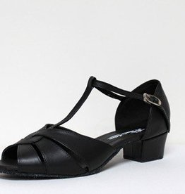 "Atten 251-Ballroom Shoes Cuban Heel 1.2"" Suede Sole-BLACK LEATHER"