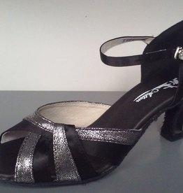 "Atten 361-Ballroom Shoes 2.2"" Suede Sole-BLACK/SILVER"