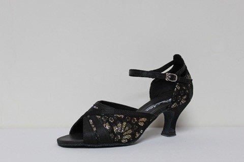 "Atten 299-Ballroom Shoes 2.2"" Suede Sole-BLACK SATIN/GOLD FLOWER"
