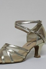 "Atten 278-Ballroom Shoes 2.2"" Suede Sole-LT-GOLD PU/ MESH"