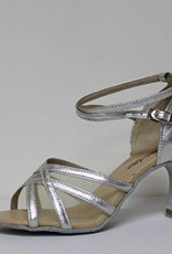 """Atten 278-Ballroom Shoes 2.75"""" Suede Sole-SILVER LEATHER/MESH"""