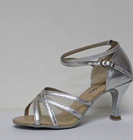 "Atten 278-Ballroom Shoes 2.75"" Suede Sole-SILVER LEATHER/MESH"