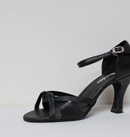 "Atten 339-Ballroom Shoes 3"" Suede Sole- BLACK LEATHER"
