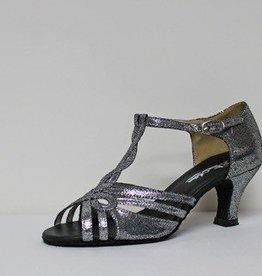 "Atten 353-Ballroom Shoes 2.2"" Suede Sole-DK-SILVER"