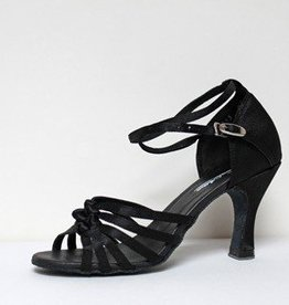 "Atten 228-Ballroom Shoes 2.2"" Suede Sole-BLACK SATIN"