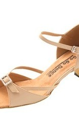 "GOGO / Stephanie Dance Shoes GO7161-Ballroom Shoes 1.3"" Suede Sole-TAN LEATHER"