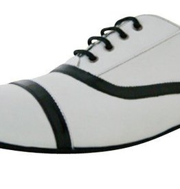 "OranGoutang MOJITO-Ballroom Men Shoes 1/2"" Suede Sole, WHITE KID/BLACK PATENT"