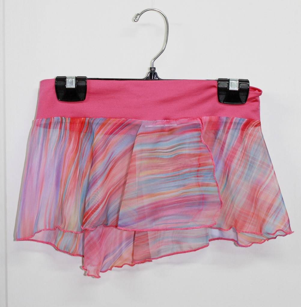 MotionWear 1366-Half-circle side slit Skirt-Rainbow PINK