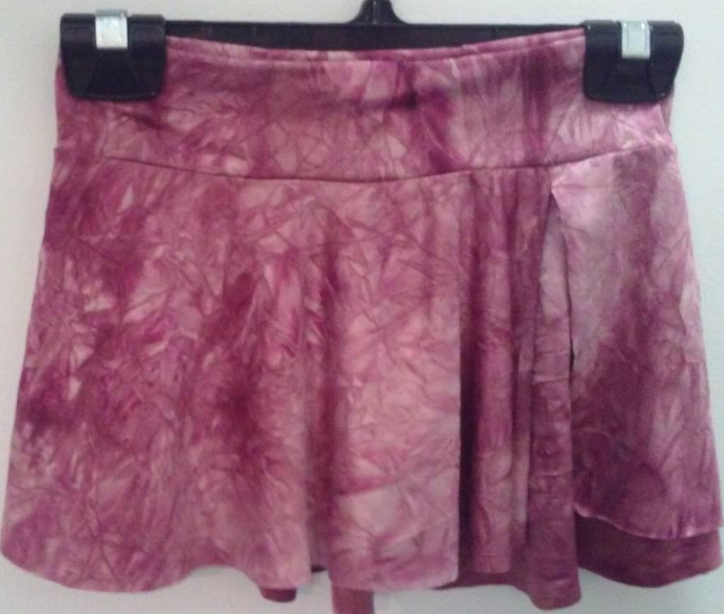 MotionWear 1366-Half-circle side slit Skirt-Marble WINE