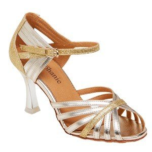 "GOGO / Stephanie Dance Shoes 12076-32-Ballroom Shoes 2.5"" Suede Sole-GOLD"
