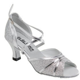 """GOGO / Stephanie Dance Shoes GO9811-Ballroom Shoes 2.5"""" Suede Sole-SILVER LEATHER/GLITTER"""