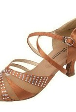 "GOGO / Stephanie Dance Shoes 2056-45-Ballroom Shoes 2"" Suede Sole-Dark Tan Satin"