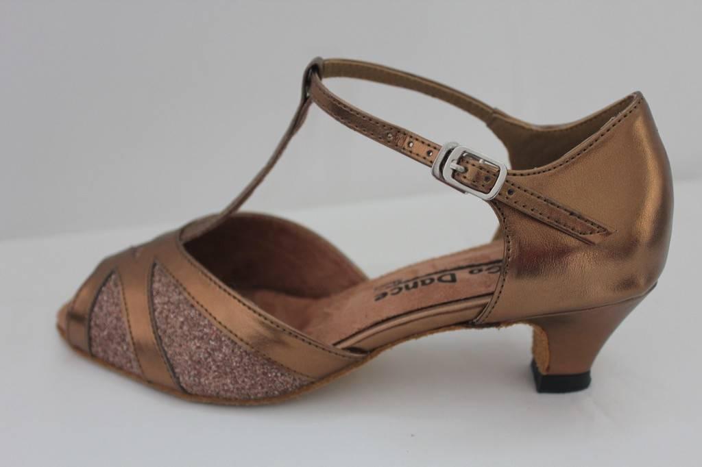 """GOGO / Stephanie Dance Shoes GO7302-Ballroom Shoes 1.3"""" Suede Sole-COPPER"""
