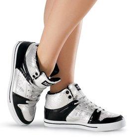 Weissman SWERVE-Sequin Patent High-Top Sneaker-BLACK/SILVER