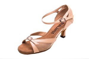 "GOGO / Stephanie Dance Shoes GO9851-Ballroom Shoes 2.5"" Suede Sole-TAN LEATHER"